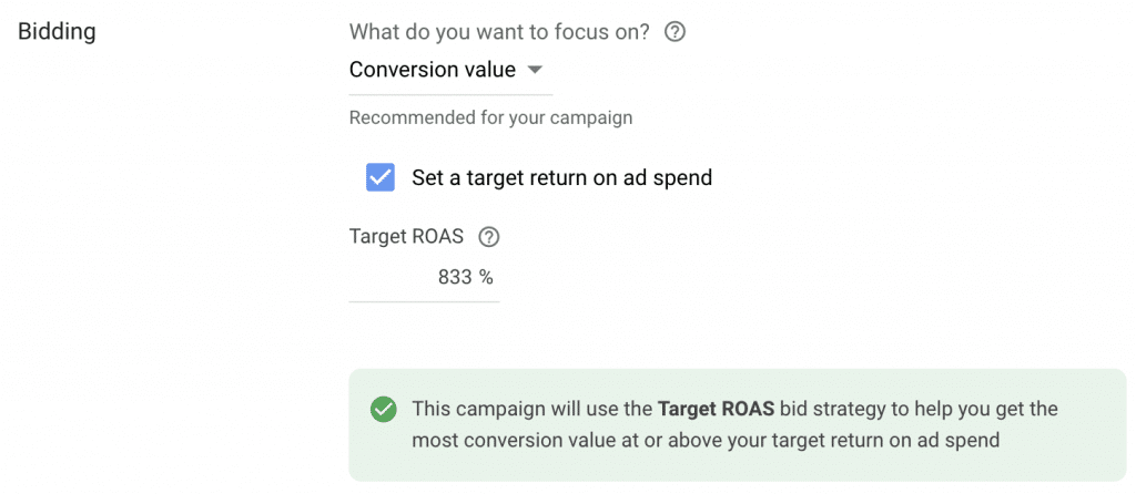 Target ROAS bid strategy